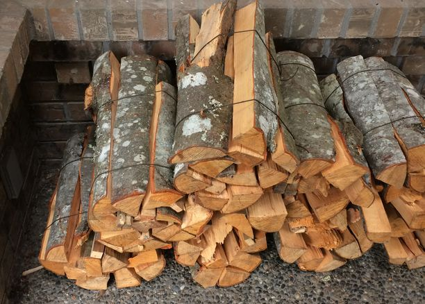 Bundled firewood ready for burning in Vancouver