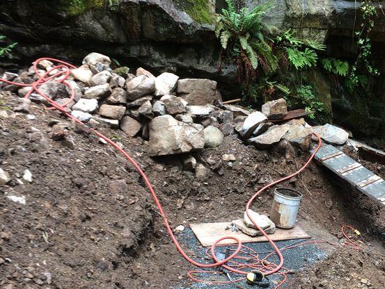 A pile of rocks for retaining wall in North Vancouver