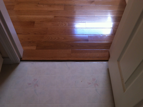 Another view of hardwood floor joining bathroom