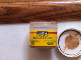 Minwax wood putty to mask nails