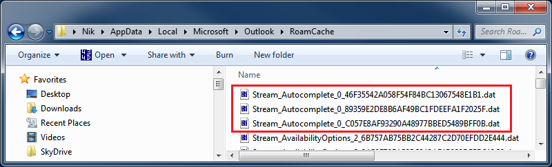 Microsoft Outlook AutoComplete cache files
