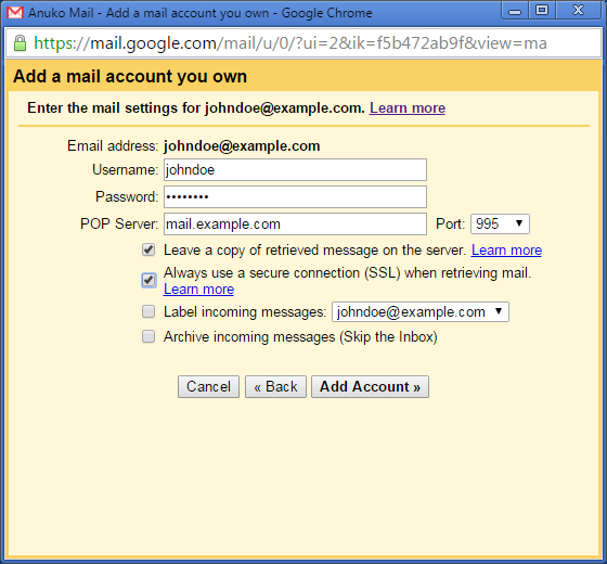 Add a mail account you own - SSL mail server settings